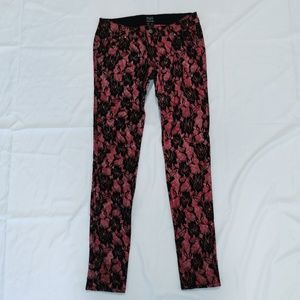 Tripp NYC   Pink Lace Rose Skinny Jeans Pants